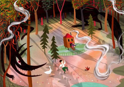 Pierre et le loup, forêt, bois, canard, oiseau, loup, conte de fées