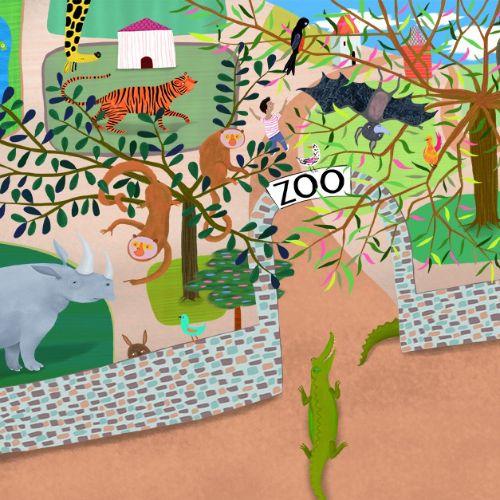 zoo, animals, tiger, elephant, crocodile, bat, birds