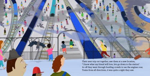 trains, gare, fumée, gens, foules, pigeons
