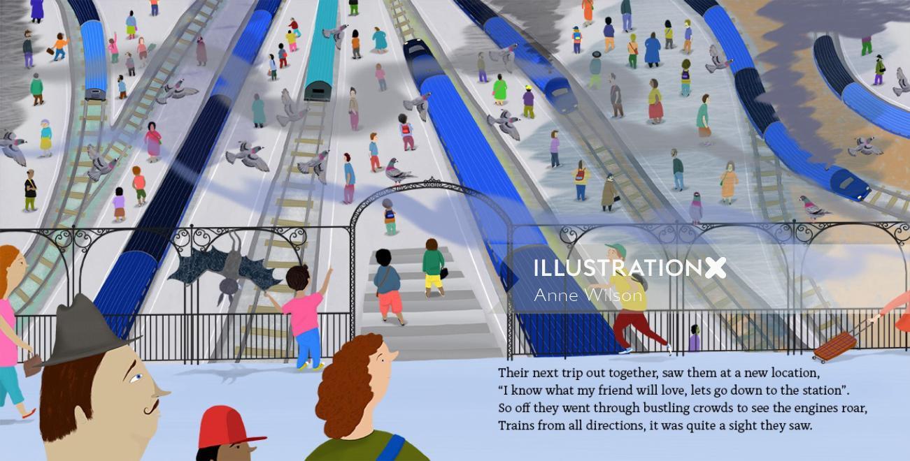 trains, station, smoke, people, crowds, pigeons