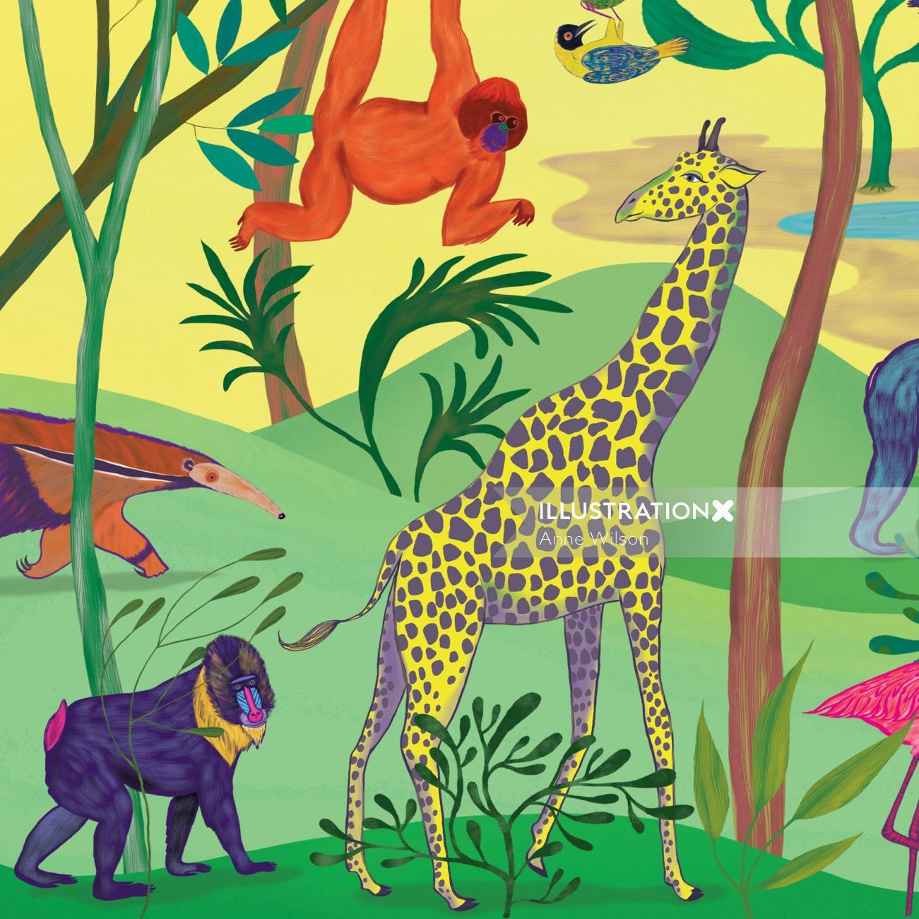 baboon, giraffe, oranutan, jungle, wild