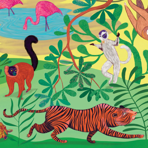 tiger, wild animals, lemur, jungle