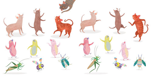 animals, dancing, cats, dogs, birds, insects