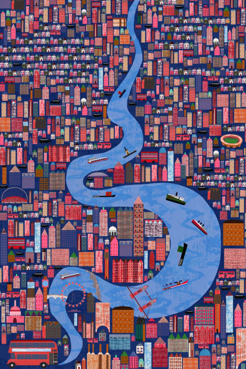 Winding through the city illustration by Anne Wilson