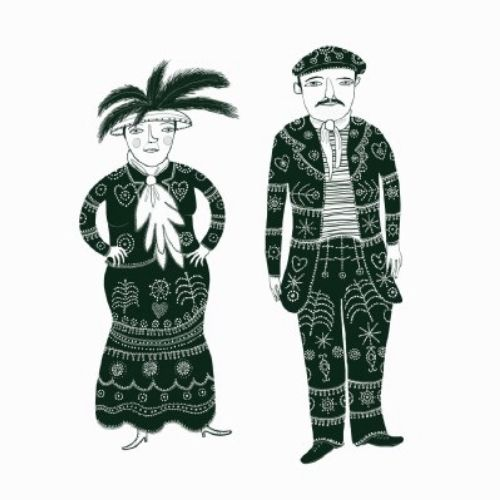 Pearly king and queen illustration by Anne Wilson