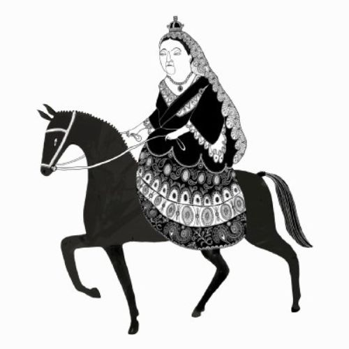 An illustration of Queen Victoria on horse