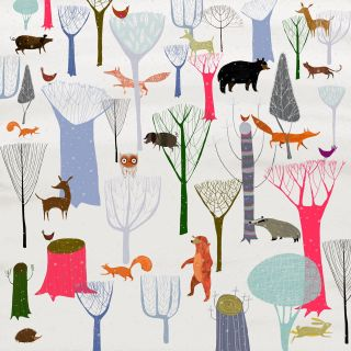 An illustration of animals in the winter