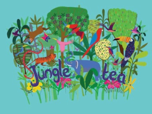 An illustration for jungle tea label