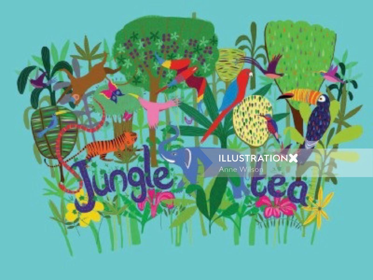 An illustration for jungle tea label
