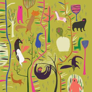 An illustration of jungle animals