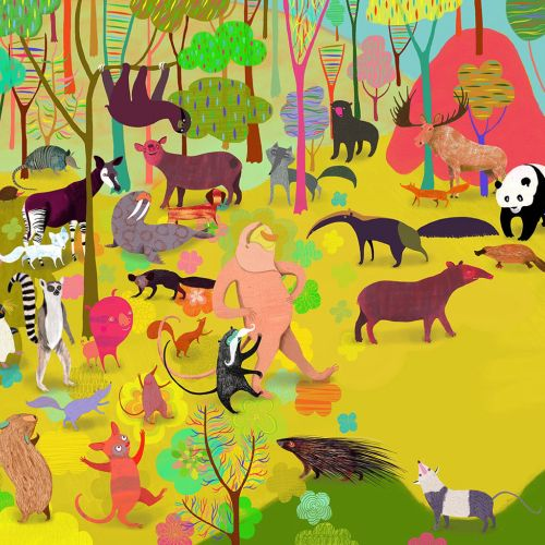 An illustration of animals in the forest