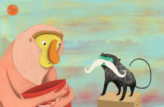 Monkey and Tamarin illustration by Anne Wilson