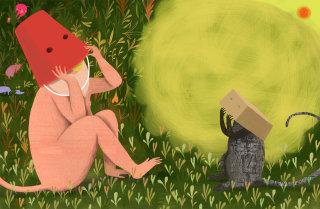 Money wearing bucket as cap - An illustration by Anne Wilson
