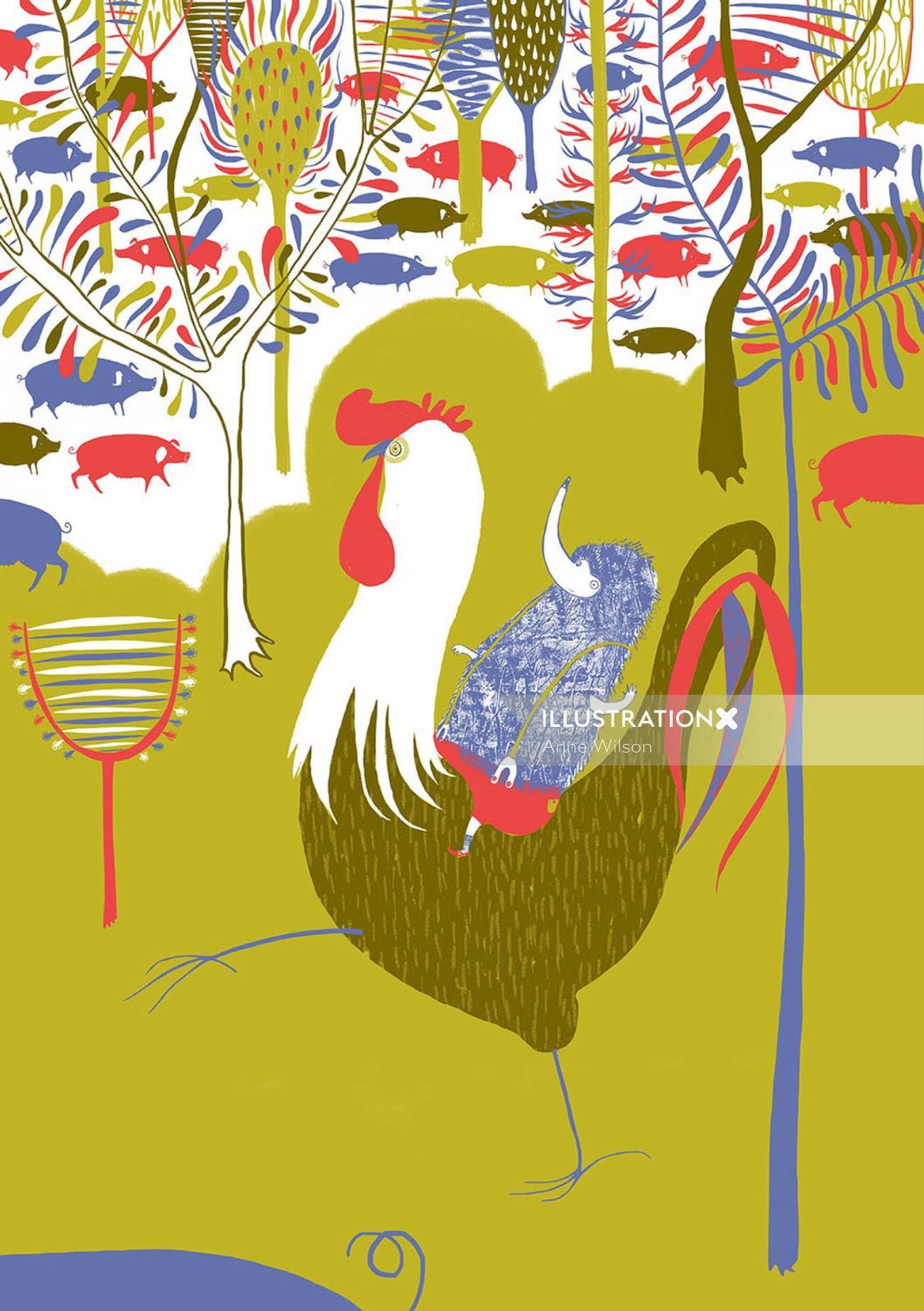 An illustration of hen