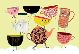 An illustration of cup characters
