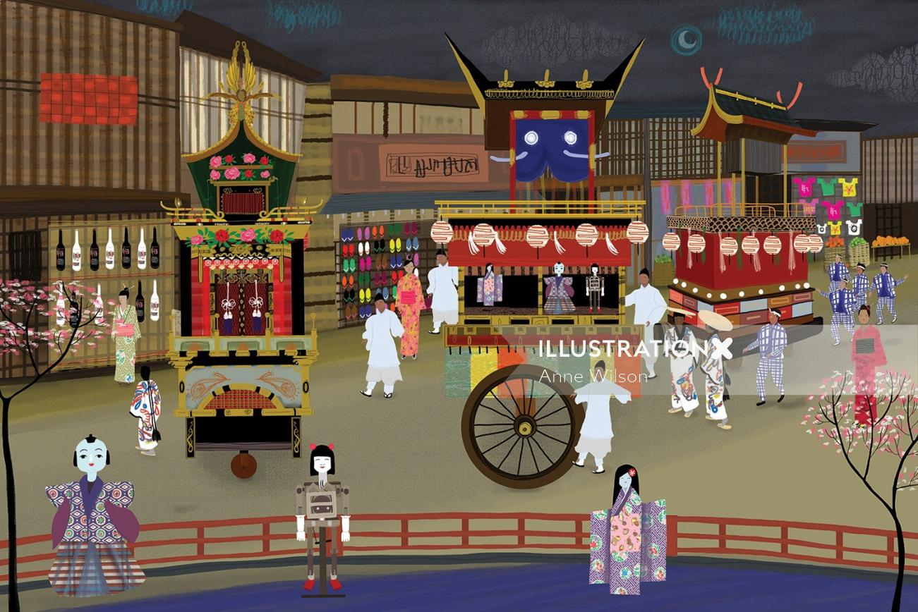 An illustration of Japan festival tradition