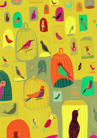 An illustration of birds in cages