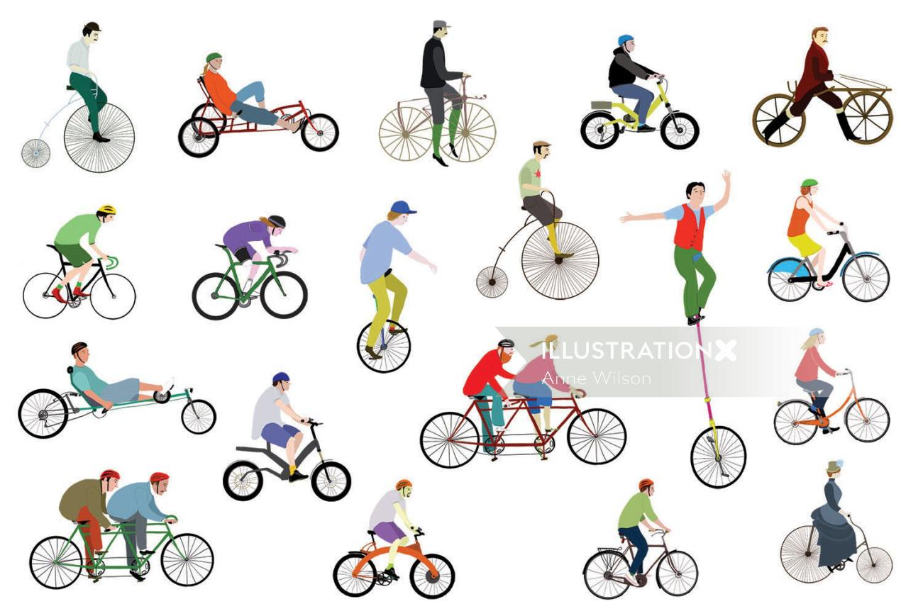 An illustration of bycicles