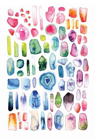 Watercolour painting of gemstones