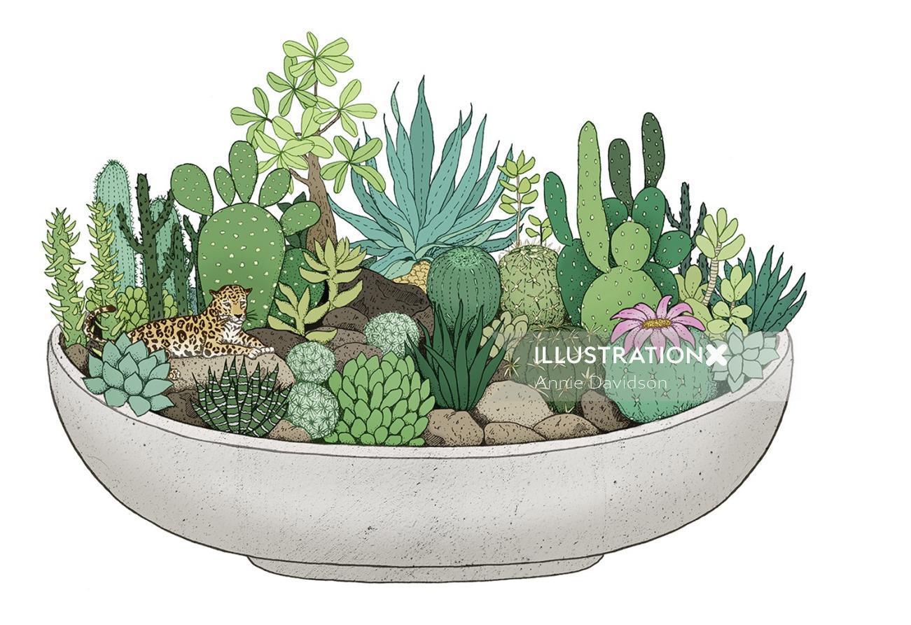 Cactus plants in pot artwork