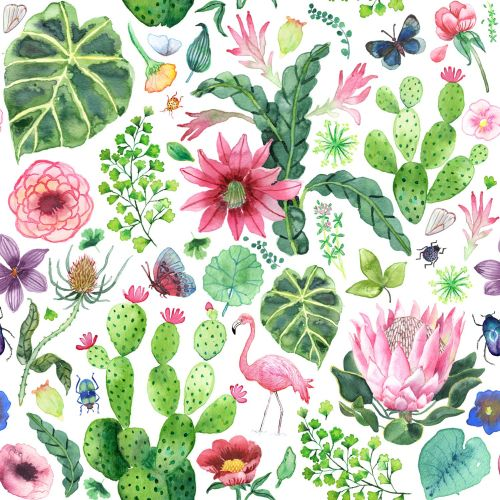 Flowers, plants & birds textile design