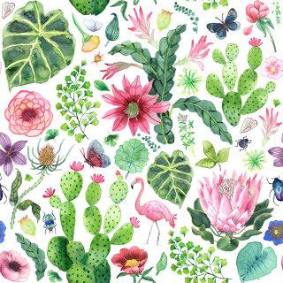 Flowers, plants & birds textile design