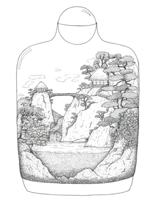 Animation of Japanese Landscape in glass pot