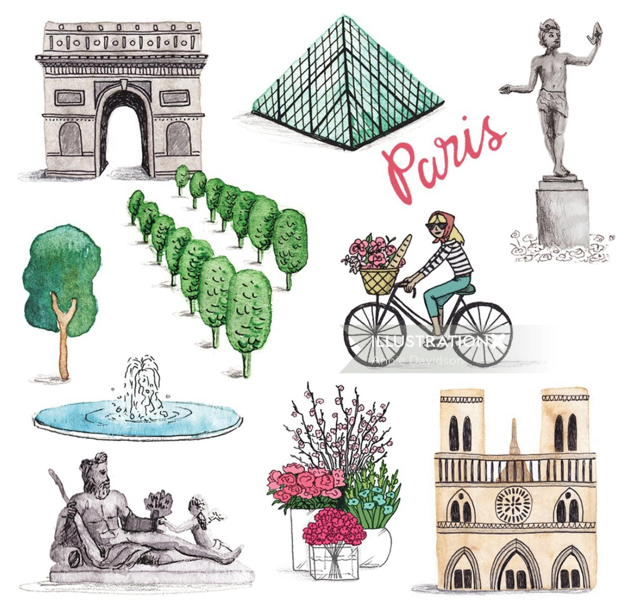 Icons design for map of Paris by Annie Davidson