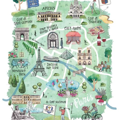 Paris Map illustration for the Ryder Cup in 2018