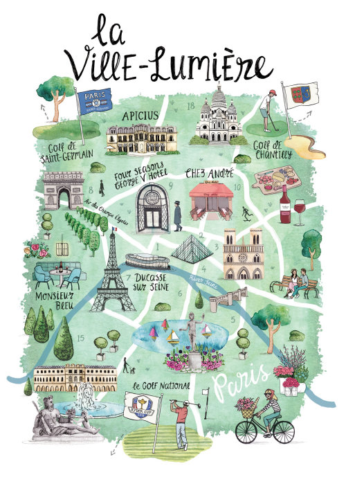 Illustration de la carte de Paris pour la Ryder Cup en 2018