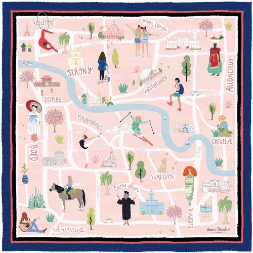 Map illustration on Silk Scarf for Talbot's