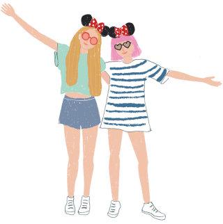 Fashion illustration of two beautiful girls