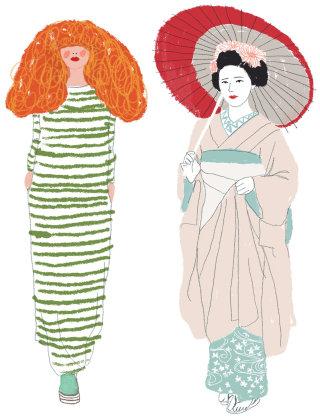 Contemporary art of model and a geisha