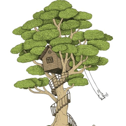 Tree house painting by Annie Davidson