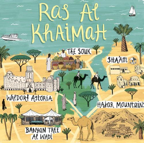 Map of Ras Al Khaimah for 'Jamie Oliver' Magazine
