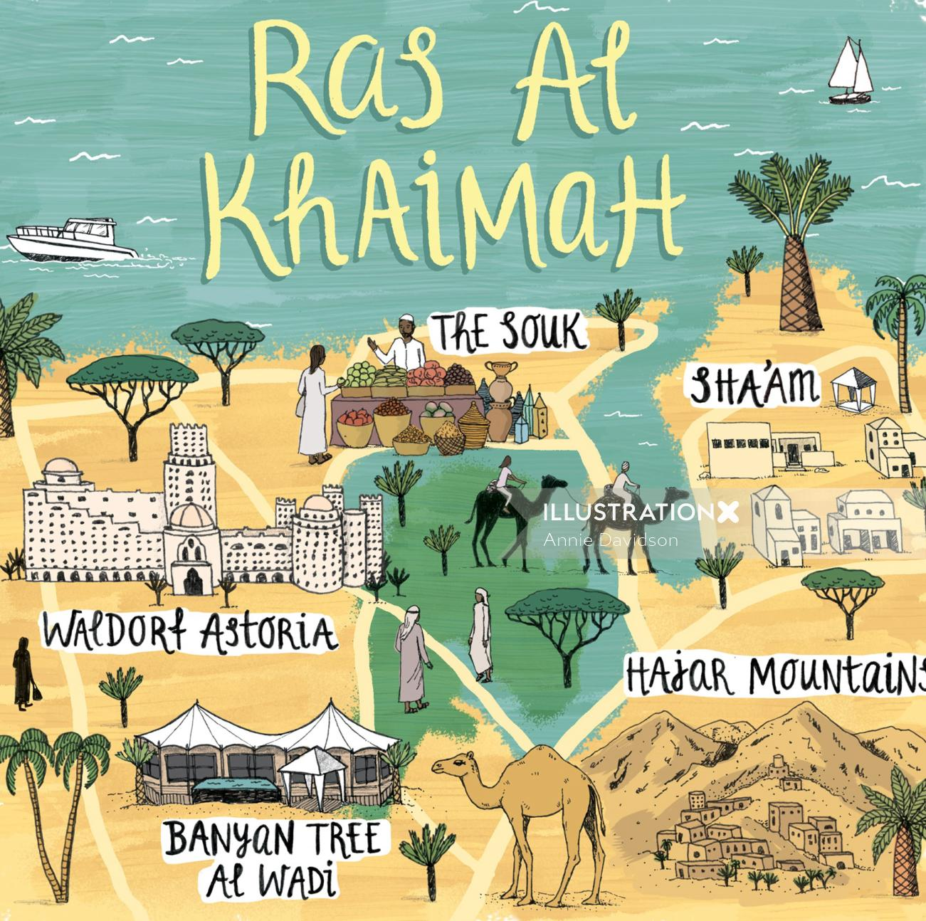 Map of Ras Al Khaimah for 'Jamie Oliver' Magazine