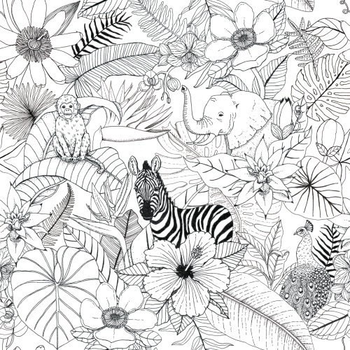 Black and white art of animals in the forest