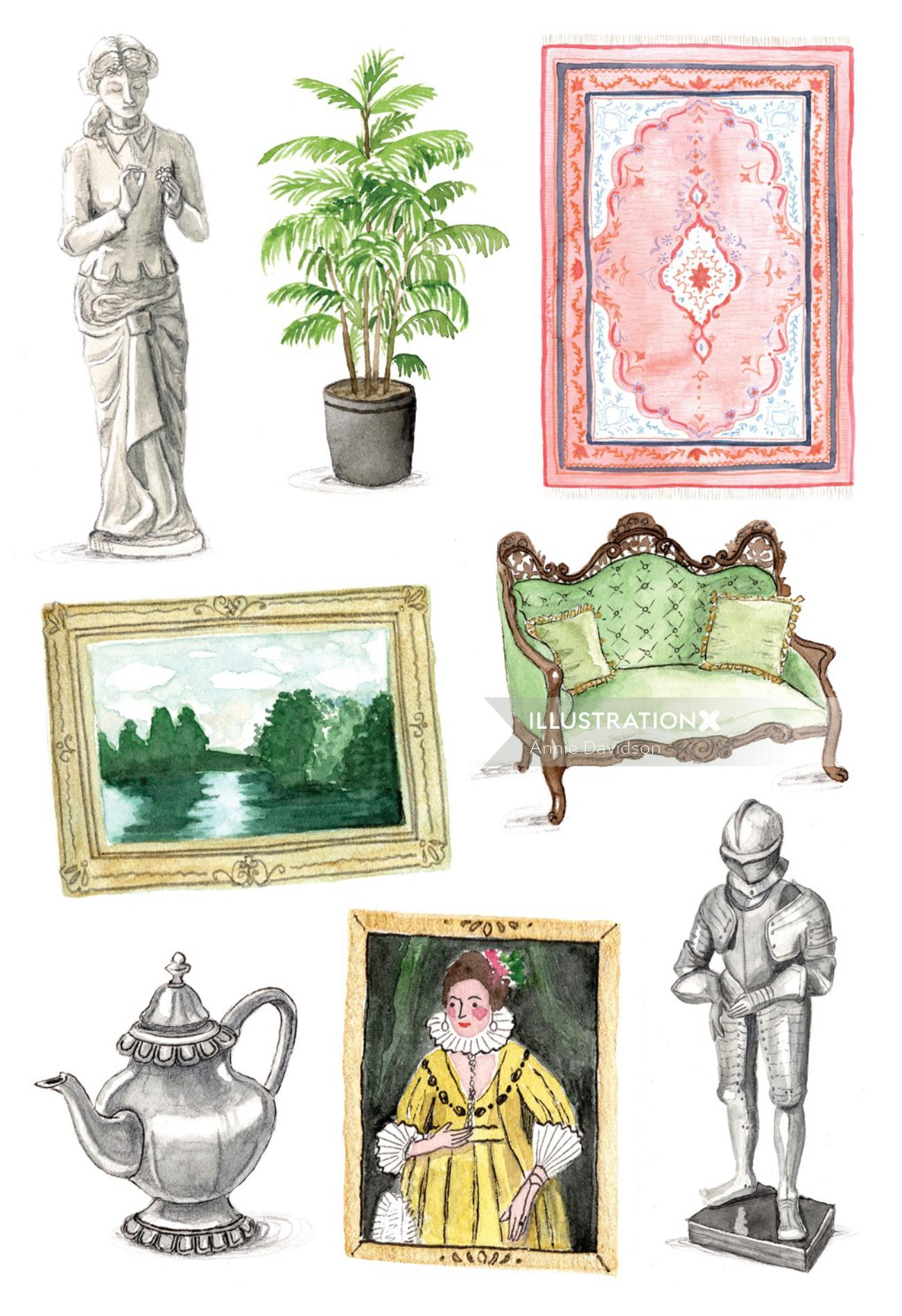 watercolor of mansion icons
