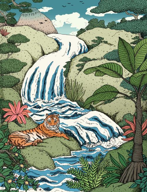 Animals tiger at a waterfall