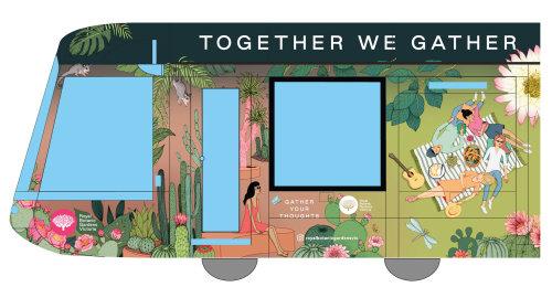 Graphic of art on train
