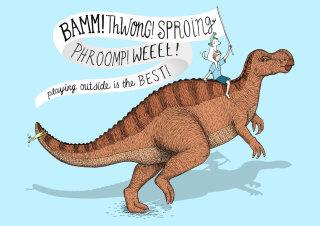 Dinosaur children's book illustration for Medibank