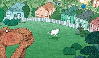 sport, oval, houses, streets, dog, dinosaurs, illustration, medibank