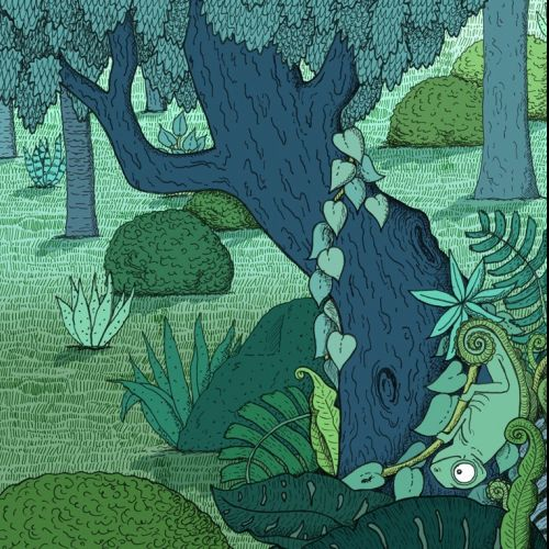 chameleon, hiding, dinosaurs, illustration, medibank