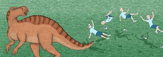 dinosaurs, illustration, medibank, boy, spinning, tail