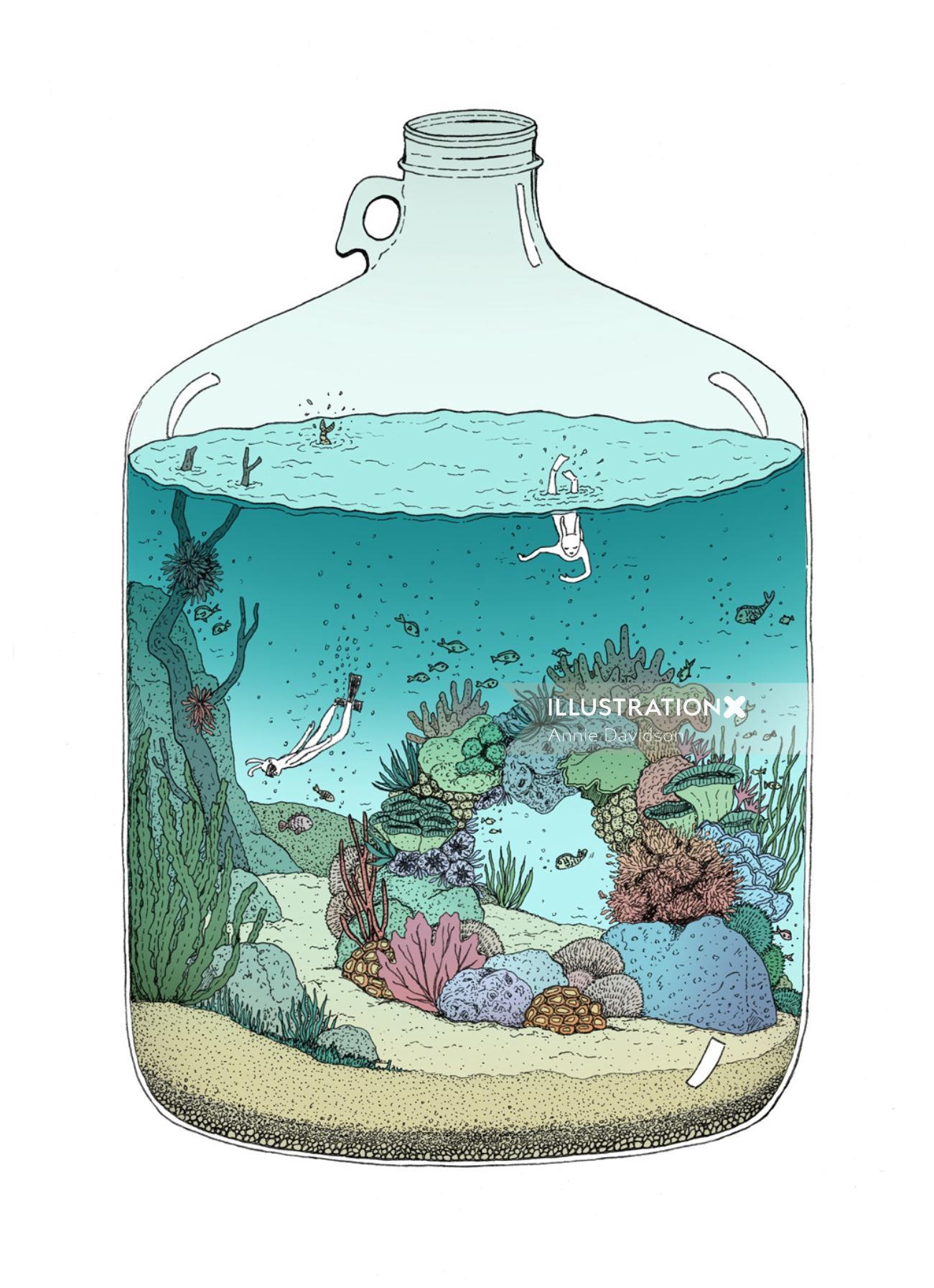 Deep sea diving artwork by Annie Davidson