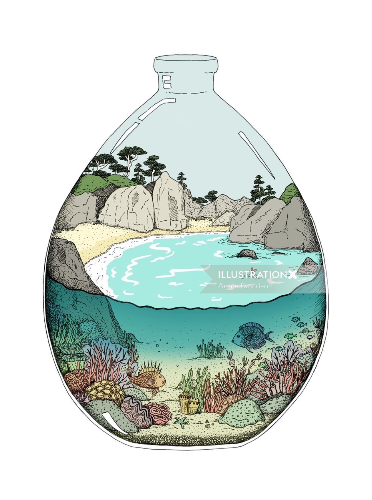 illustration, bay beach, under water, coral reef, fish, seaweed, sand