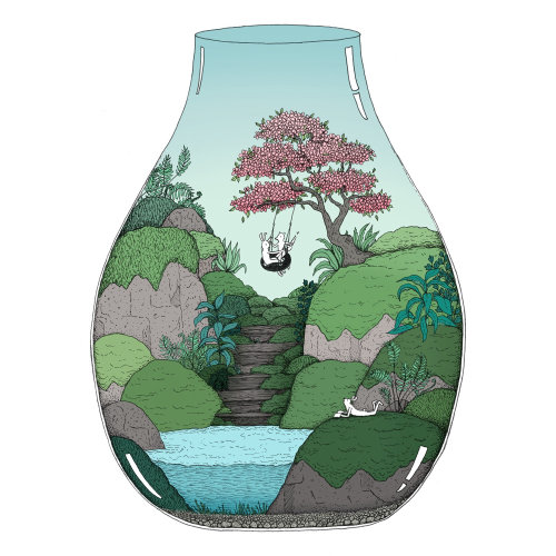 Blossom tree terrarium illustration