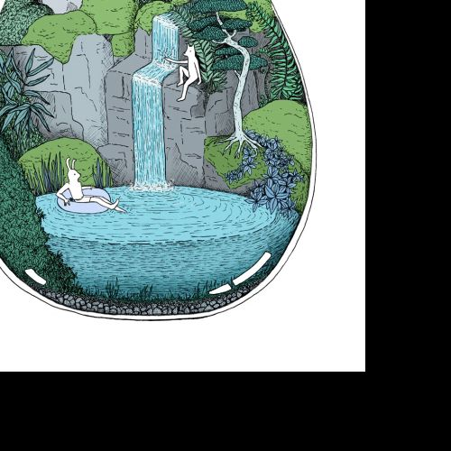 illustration, swim, waterfall, escape, terrarium