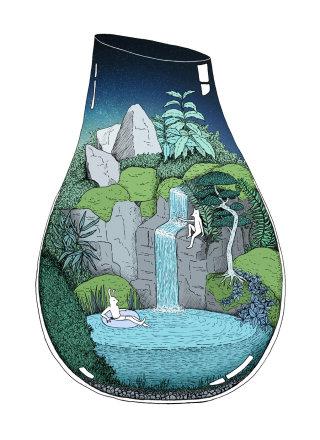 illustration, swim, waterfall, escape, terrarium
