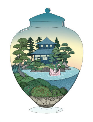 kyoto, tea house, japan, flamingo, boating, terrarium, illustration, forest, water